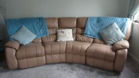Real leather 4 seater sofa with manual recliners on each end
