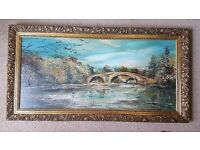 """Amazing by Artist FEGAN - English Port Oil Painting -39"""" * 20""""- Authentic 100%"""