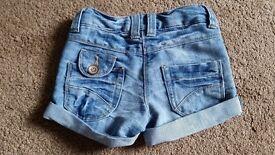 Girls Denim Next shorts. Age 3 years.