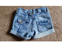 Girls Denim Next shorts. Age 3 years.