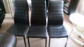 Black Leather Look Dining Chairs for Sale