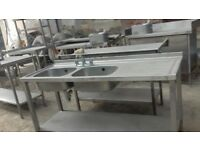 Commercial Double Sink Unit Stainless Steel 1.5m catering drainer shelves