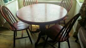 Round Wooden Dining table 4 Chairs