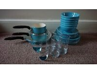 Light blue Kitchen set. 3 ceramic pots. set of 6 bowls, 6 large plates, 5 small plates, 6 cups.