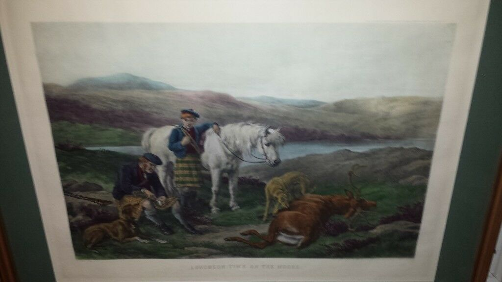3f2e47cce5be Luncheon Time on the Moors - Print in Gold Coloured Frame. Blairgowrie