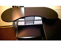 * FREE * Large extendable black and silver Computer desk workstation very good clean condition