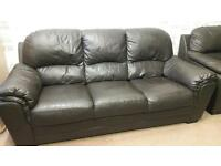Black leather 3 & 2 sofas. Delivery available