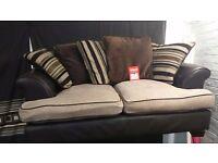 Leather/Fabric * 2 seater sofa 170 x 90cm *Brown/Cream*