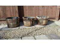 Genuine oak ex whisky barrel planters/tubs