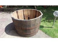 Real oak large half barrel planter with £5 local delivery
