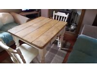 1000mm x 765mm Rustic Shabby Chic Table with 2 Chairs - Farrow and Ball New White