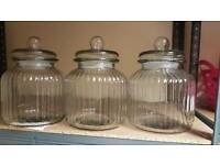 3 large glass jars for sweet buffet, cookies etc