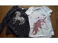 Unicorn t-shirt and long sleeve top