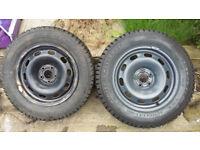2x nearly new winter tyres (195/65/R15) on steel rims taken off 2002 Seat Leon. £60 ONO
