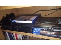 Ps4 with all leads, control, Overwatch, Last of Us, Fallout 4 steel book edition
