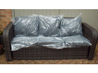 3 Seater Sofa Outdoor Garden Ratten Conservatory Furniture + Cushions