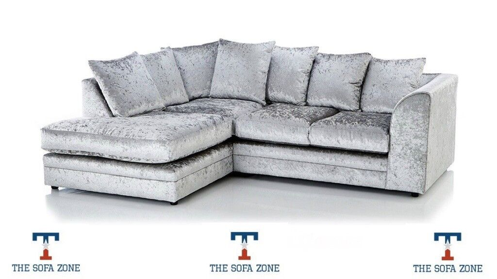 BRAND NEW MARILYN FABRIC CRUSHED VELVET SILVER CORNER SOFA SETTEE COUCH 3 SEATER SOFA