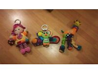 three different tomy lamaze hanging toys