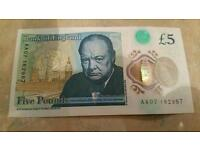 New £5 note - serial AA07 - one of first to be released