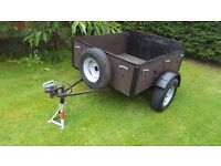 """Trailer 4 x 3 ft 6"""" , 2 x Good Tyres, Electrics 100%, Hinged tailboard, spare/repairs!"""