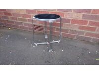 VINTAGE MID CENTURY DESIGNER CHROME ALLOY LOW STOOL ALL ORIGINAL FABULOUS MODERN HOME DECOR DISPLAY