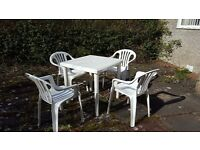 Plastic table & chairs