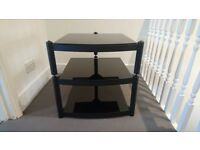 Atacama Equinox 3 tier hi-fi rack, black glass with satin black frame. Great quality hifi stand.