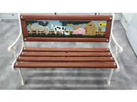 Cast iron childrens farmyard garden bench
