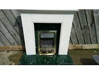 Green marble fireplace and electric fire