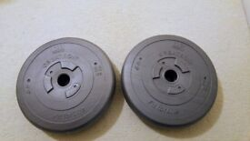 2x 4kg/8.8lb Silver Weight Plates Plastic Sand Filled DP Fit For Life Orbatron