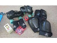Riedell 126 she devil skates, gumballs, pads, big roller derby lot, vgc