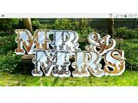 Large Mr and Mrs Lettering for wedding