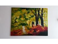 Wall painting oil -Trees 79cmX104cm oil painting of Poppy Land 94cmX64cm