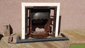Cast Iron Fireplace, Surround, Grate, Canopy, Fender