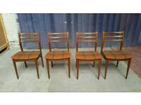 Set of 4 teak Mid century dining chairs