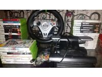 Xbox 360 steering wheel,games,controller and pedals