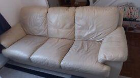 Leather Sofa - Cream/Beige £50