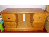 Solid Oak TV CD DVD Entertainment Cabinet