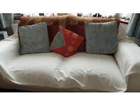 Pair of 3 seater and 2 seater matching white faux leather settees from Furniture village 3 years old