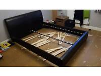 King size bed frame brown faux leather plus wooden slats (No matress)