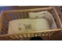 Mothercare swinging crib with bedding and mattress