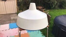 Sold****Large Industrial Light Fitting. Cream   Gold
