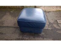Quality Soft Blue Leather Pouffe for sale