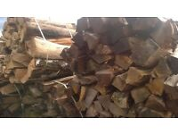 hardwood logs, well seasoned timber, approx 3 foot (900mm long) and split, ready for burning