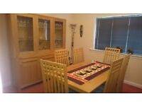 Solid Oak Extending Dining Table and Eight Solid Oak Chairs