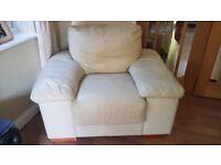 Free 3 piece cream leather sofas - used