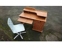 Beautiful pine wood desk with computer shelf with swivel chair