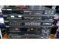 Old vintage retro sony hi fi and speakers