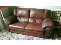 Large dark brown three piece Leather suite