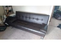Double faux leather sofa bed
